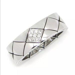 CHANEL 18KT Gold & Diamond Matelasse Ring Sz 5.75